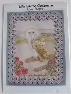 CHRISTINE COLEMAN - OWL PROJECT      Christine Coleman's 'Owl Project'  is a beautiful A4 size parchment craft project which can be framed to hang on your wall or given as a gift. In this design you will be using coloured pencils and painting techniques, embossing and grid work. The owl's wing is a 3D element which is beautifully feathered. The illustrated instructions will help you create this wonderful design for yourself.
