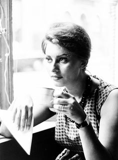 Sophia Loren. Drinking coffee. Through the lens of Peter Stackpole.