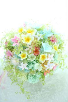 ブーケ プリザーブド プルメリアとセルリア 楽園 : 一会 ウエディングの花