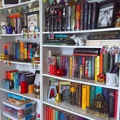 bookshelves decked out for Christmas!