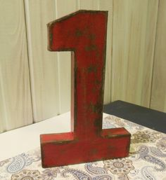 Paper Mache Number One Fire Engine Red and by thelittlebluehouse,