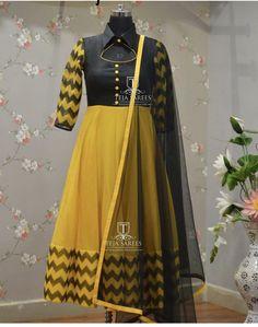 Beautiful royal blue color floor length anarkali dress with multi color tassels. Salwar Neck Designs, Churidar Designs, Kurta Neck Design, Dress Neck Designs, Kurta Designs Women, Blouse Designs, Long Gown Dress, Saree Dress, Long Frock