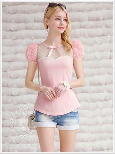 Original 2016 Brand Summer Top Short Sleeve Vintage Light Pink Flowers Women T-shirt Wholesale
