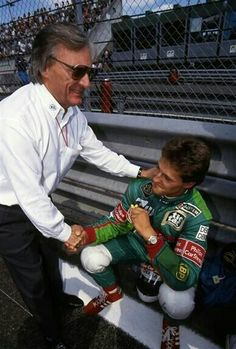 Bernie Ecclestone welcomes Michael Schumacher to for his first race. 1991 Belgian GP by francesca-caas Michael Schumacher, Ferrari, Brazilian Grand Prix, Groom Reaction, Gilles Villeneuve, Formula 1 Car, F1 Drivers, Lewis Hamilton, F1 Racing