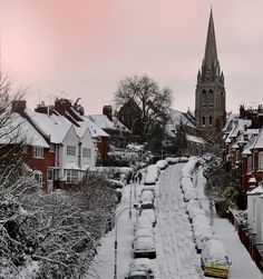 Snow in North London-    St' James Church, muswell hill, north London