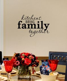 """food""/""meals"" bring family together Kitchen Wall Quotes, Family Wall Quotes, Just Cabinets, Bubble Bottle, Vinyl Quotes, Black Kitchens, Diy Party, Party Favors, Wall Spaces"
