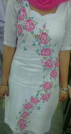 Best 12 Hand embroidered ladies cotton Kurti Top in shop. Embroidery work on cotton fabric. Fabric Colour Painting, Fabric Painting On Clothes, Dress Painting, Painted Clothes, Embroidery Suits Design, Hand Work Embroidery, Hand Embroidery Designs, Saree Painting Designs, Fabric Paint Designs
