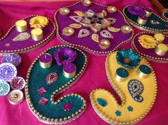 Beautiful set of Mehndi plates, magenta,teal and yellow. See www.facebook.com/mehnditraysforfun for more inspiration and ideas