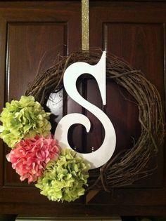 18 inch Grapevine Monogram Spring Wreath by CreationsByRyanS, $45.00
