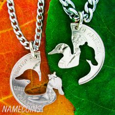 Duck jewelry handcrafted couples necklaces by NameCoins on Etsy, $34.99