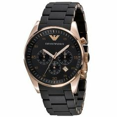 Emporio Armani Rose Gold Watch available at Stylish Watches, Casual Watches, Luxury Watches, Cool Watches, Men's Watches Black, Male Watches, Army Watches, Elegant Watches, Armani Rose Gold Watch