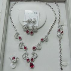 silver jewelry set, inlay with synthetic gemstone