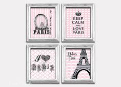 Keep calm and carry on Art poster Love Paris Wall por EEartstudio