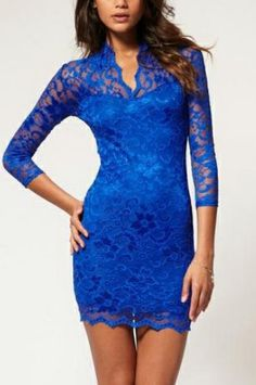 Blue Lace Three Quarter Length Fitted Above Knee Dress