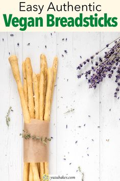 How to make delicious vegan breadsticks in just a few easy steps. Make these authentic Italian grissini and use them alongside dips. #italian #recipe #snack #vegan #breadsticks #grissini