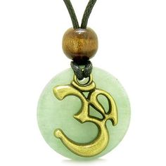 Ancient OM Tibetan Amulet Magic Powers Green Quartz Coin Medallion Pendant Necklace #hinduweddings