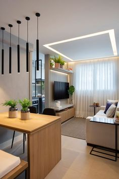 Condo Interior Design, Condo Design, Home Room Design, Small House Design, Modern Small Apartment Design, Modern Interior, Tv Wall Design, Interior Office, Contemporary Apartment