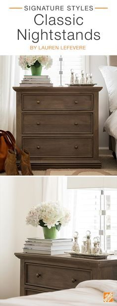 Fashion blogger Lauren Lefevre's antique weathered nightstand  brings classic style to her trendy master bedroom. Lauren  elevates the look by combining a contemporary table lamp with  an elegant silver tray styled with an assortment of silver glass vases. Click to see more stylish nightstands on sale now during The Home Event.