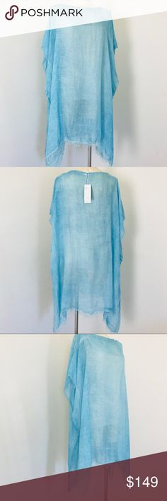Eileen Fisher Poncho Modal Organic Linen Tunic Top Maltino  Modal Organic Linen Poncho Coverup Top by Eileen Fisher   New with Tags Offered to save you money from retail  Color:  Blue, gorgeous aqua blue Size:  One Size  Pullover style with dropped shoulder sleeve Side vents Finished bateau neck; frayed sleeves and hem  Sheer with shifting uneven tones made luxe Italian weave of weightless modal and textural Linen with a touch of silk!  A beautiful layer piece for your separates.  Also…