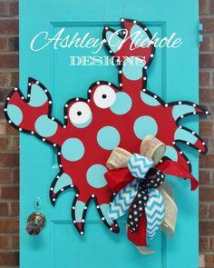 Funky Crab Door Hanger Door Decoration by DesignsAshleyNichole Wooden Door Signs, Wooden Doors, Wooden Art, Wood Signs, Burlap Projects, Burlap Crafts, Art Projects, Door Crafts, Burlap Door Hangers