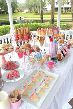 Love this idea! Cup cakes in cones....well the whole ice cream cone theme! Sundae bar! How fun!