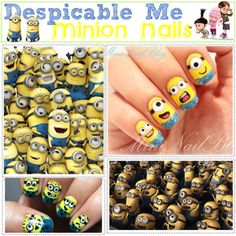 AHAHAHA despicable me minion nails, created by the-beauty-nerds on Polyvore