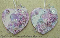 INGRID's CRAFTS CORNER: Altered wooden hearts for my girls