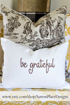 Giveaway! Be Grateful Pillow Cover from Sutton Place Designs on Etsy