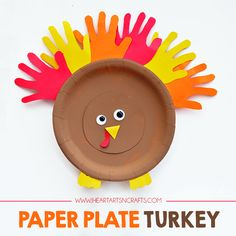 Handprint Paper Plate Turkey. It doesn't get much more classic than this craft from @iheartartsncraf. Download Keepy at http://getapp.keepy.me/PIN to share the final product with grandma!