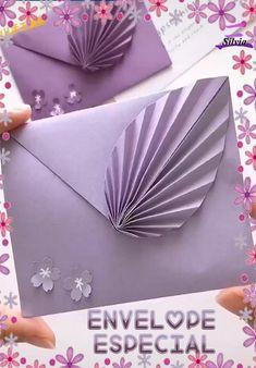 Origami And Kirigami, Paper Crafts Origami, Origami Art, Diy Paper, Diy Crafts Hacks, Diy Crafts For Gifts, Diy Arts And Crafts, Fun Crafts, Envelopes Decorados