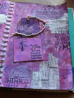 Art journal, with Tim Holtz warehouse stamps.