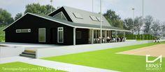 Ontwerp van een gezellig tennispaviljoen voor acht tennisbanenErnstarchitect