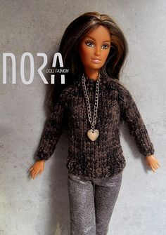 Brown-black mixed color knitted sweater for Barbie