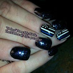 Thin blue line Nails!