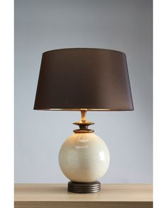 Lui's Collection - Clara Cream Orb Ceramic Table Lamp Complete With Brown Shade With Gold Lining