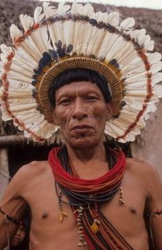 Brazil | Surui Amerindian man.  Amazon | © Mark Edwards/Hard Rain Picture Library. | The Surui are a remnant tribe devastated by the construction of the BR364 road through their territory. Only a few hundred Surui Indians remain and many of them are sick.