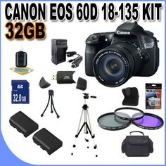Canon EOS 60D 18 MP CMOS Digital SLR Camera with 3.0-Inch LCD and 18-135mm f/3.5-5.6 IS UD Standard Zoom Lens W/32GB SDHC Memory +2 Extra Extended Life Batteries + Ac/Dc Rapid Charger + 3 Piece Filter Kit + SDHC USB Card Reader + Shock Proof Deluxe Case w/Strap + Full Size Tripod + Memory Card Wallet + Mini Tripod + Accessory Saver Bundle! !. by BVI. $1199.95. This Kit Includes! 1- Canon EOS 60D 18 MP CMOS Digital SLR Camera with 3.0-Inch LCD and 18-135mm f/3.5-5.6 IS UD Standar...