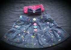 Girls Splatter Paint Jeans / Skirts / Shorts- Sizes Newborn and Up- Custom Made- Any Color Paint Options- Baby Girl- Toddler Girl by DivineKidz on Etsy