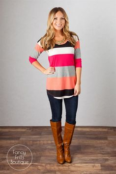 LOVE the colors and the fit,and i think the stripes are wide enough that it wont accentuate a not-so-trim belly. Sierra Striped Tunic! {Jane Deals}