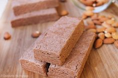 No Bake Protein Bars (sugar free, gluten free, healthy) - Powered by Sugar Free Protein Bars, No Bake Protein Bars, Whey Protein Powder, Almond Butter, Gluten Free, Sweets, Baking, Healthy, Desserts