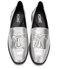 Yoins Silver Leather Look Squre Toe Chunky Heel Slip-on Loafers With Tassel