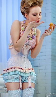 Marie Antoinette Color Palette.....via Haute Tramp...fab burlesque floral corset. TOO CUTE.