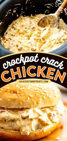 Make this chicken recipe for a quick and easy sandwich filling! An easy lunch idea or dinner recipe for busy weeknights, Shredded Chicken Bacon Ranch Chicken is a delicious combination of shredded chicken, cream cheese, Ranch seasoning, cheese, and bacon! Crack Potatoes, Best Crockpot Recipes, Sandwich Fillings, Cheesy Sauce, Ranch Seasoning, Chicken Bacon Ranch, Wrap Sandwiches, Shredded Chicken, Slow Cooker Chicken
