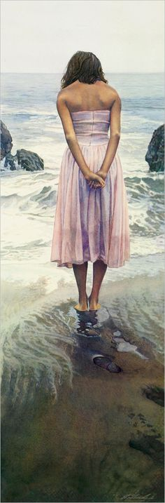 Each little wave will cover her toes and feet a little more until she is ankle deep in cool, wet sand - a delicious feeling.  Steve Hanks 'Ashley'.