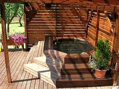 Résultat d'image pour le spa stock tank - New Ideas Hot Tub Patio, Outdoor Bathtub, Outdoor Sauna, Hot Tub Gazebo, Hot Tub Garden, Outdoor Rooms, Hot Tub Privacy, Whirlpool Deck, Outdoor Spaces