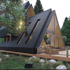 A Frame House Plans, A Frame Cabin, Wood Frame House, Tiny House Cabin, Cabin Homes, Cabins In The Woods, House In The Woods, Triangle House, Casas Containers
