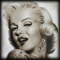 Marilyn Monroe with tattoos painted as a demo- by Mickey Schlick