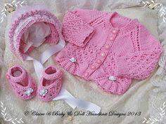 """Nuevo bebé set de regalo chaqueta de punto, sombrero y zapatos para los prematuros / recién nacido / bebé 0-3m / 14-22 """"muñeca-bebé, rebeca, capó, zapatos, modelo que hace punto, diseños handknit babydoll"""