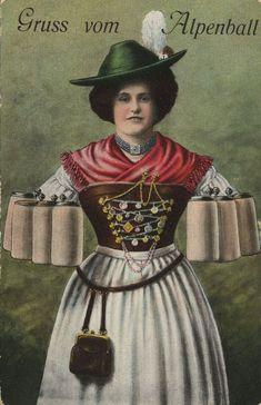 Gruß vom Alpenball I, Bayern, Deutschland, Postkarte, ca. 1900