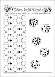 5.3.4 Counting Visible Items: Another Dice Addition Worksheet (SparkleBox)